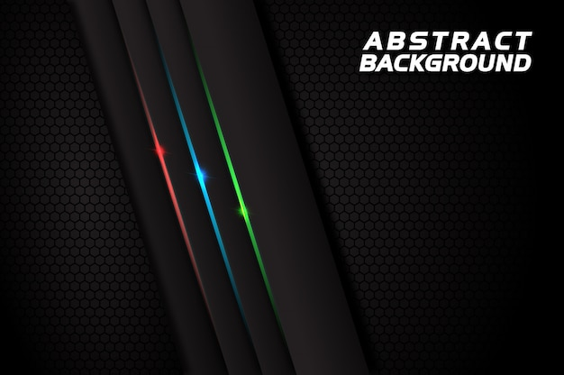Dark abstract background with red blue green lines
