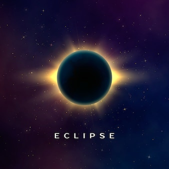 Dark abstract background with a solar eclipse. total eclipse of the sun. realistic  illustration