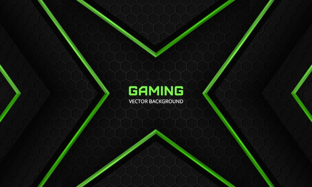 Dark abstract gaming background with hexagon carbon fiber grid and green abstract arrows