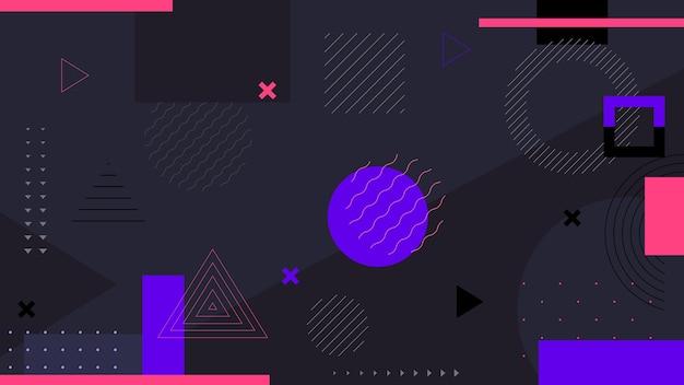 Темный абстрактный геометрический фон. дизайн «мемфис» выдержан в винтажном стиле 80-х годов. минималистичный фон.