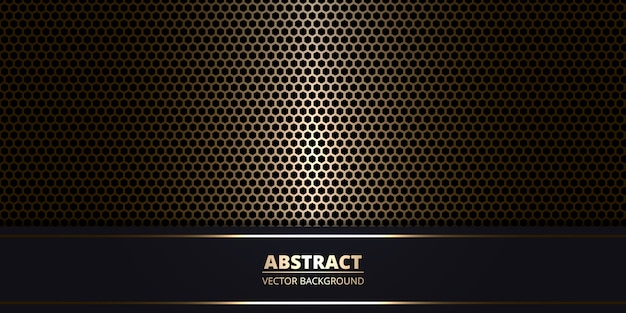 Dark abstract metallic background with gold hexagon carbon fiber.