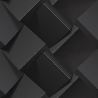 暗い抽象的なシームレスな幾何学模様。黒い紙から現実的なキューブ。壁紙、テキスタイル、ファブリック、包装紙、背景のテンプレート。ボリューム押し出し効果のあるテクスチャ。