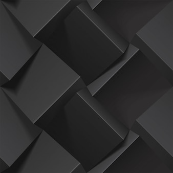 Dark abstract seamless geometric pattern. realistic  cubes from black paper.  template for wallpapers, textile, fabric, wrapping paper, backgrounds. texture with volume extrude effect.