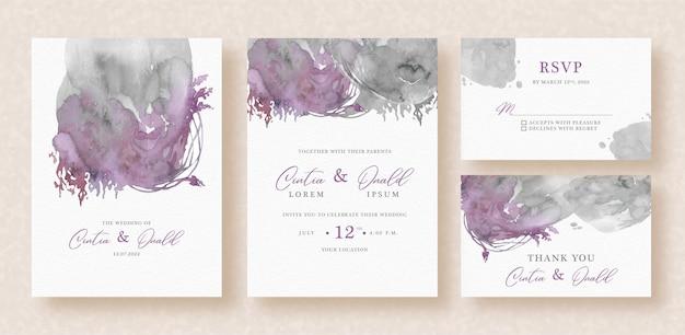 Dark abstract splash watercolor on wedding invitation