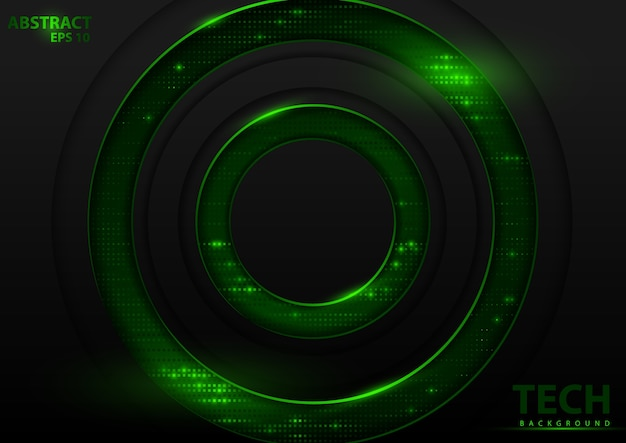 緑の要素と暗い抽象的な技術の背景