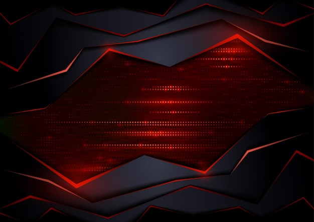 Темный абстрактный технический фон с красными элементами