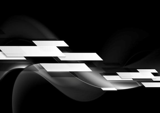 Темный абстрактный технический волнистый фон. геометрический векторный дизайн