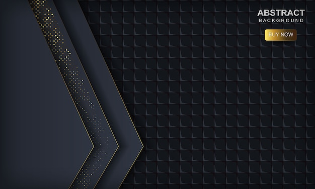 Dark abstract  with blue overlap layers. texture with golden glitters dots element and square geometric .