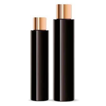 Dark amber glass cosmetic bottles set. cylinder
