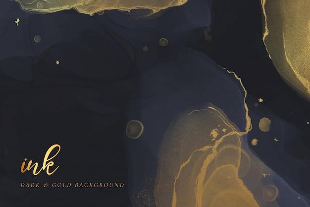Темный и золотой фон чернил алкоголя