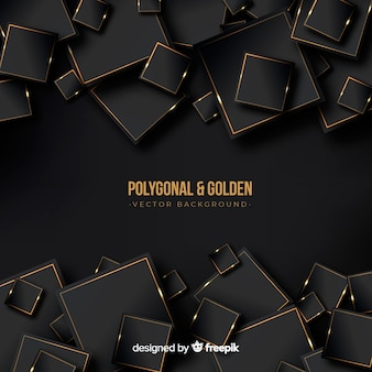 어둡고 황금 다각형 배경