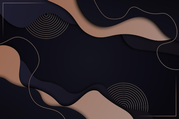 線の背景と暗いと金色の波状の形。ベクトルイラスト。
