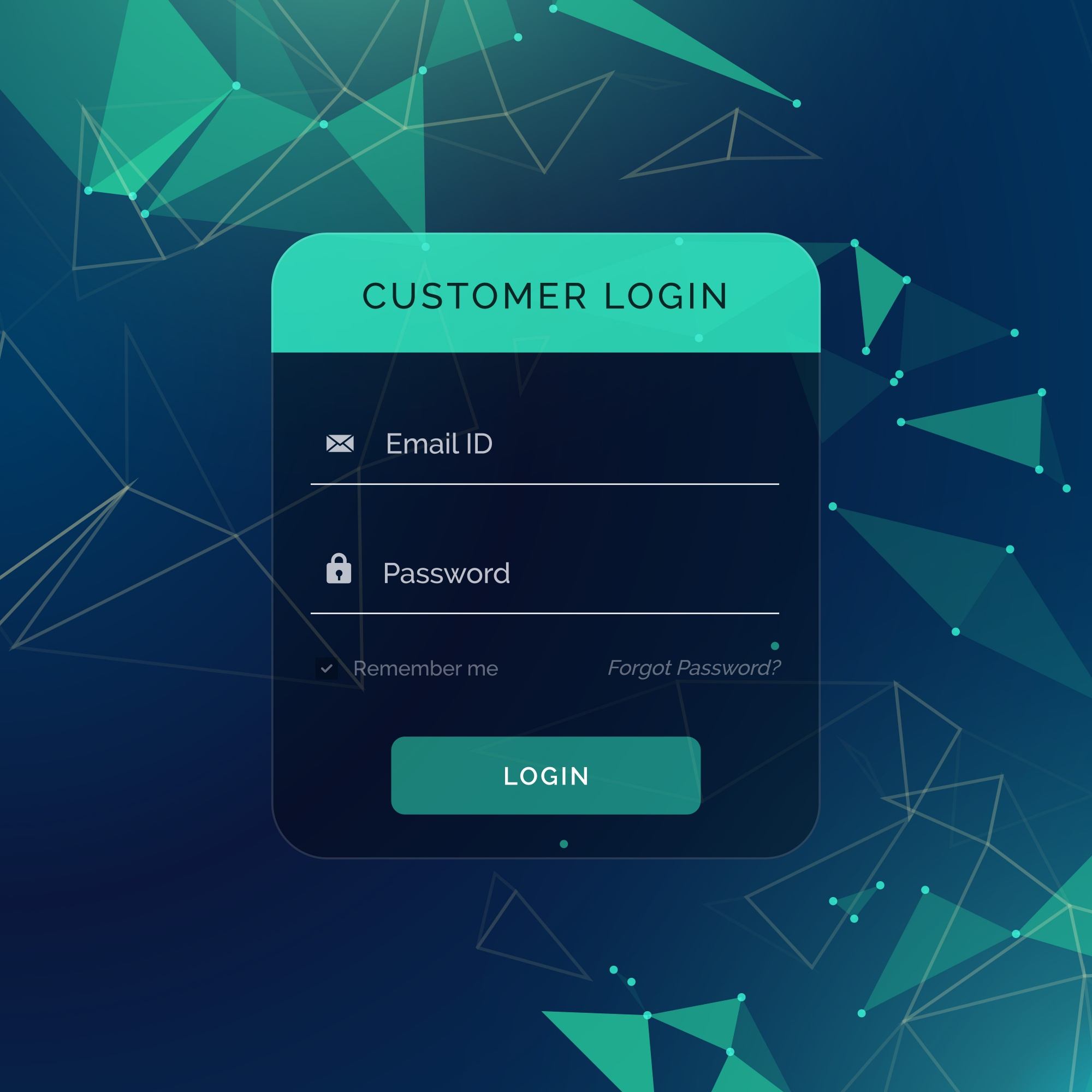 Dark and green login form template