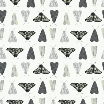 Темные и светлые силуэты кротов бесшовные модели. печать изолированных насекомых на белом фоне.