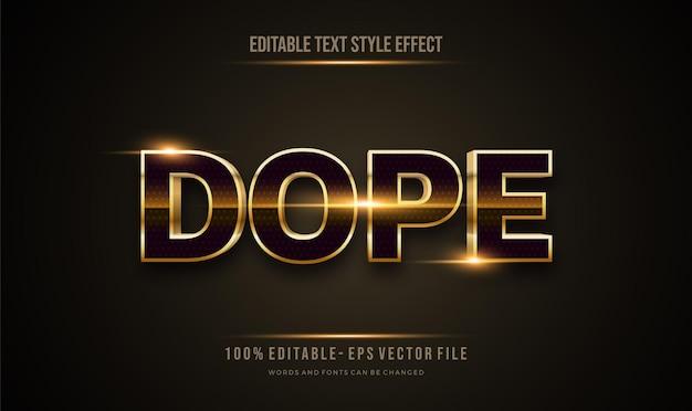 Редактируемый эффект стиля текста темного и блестящего золотого цвета