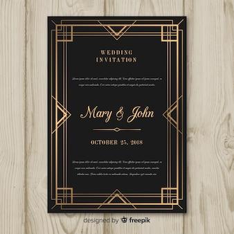 Dark art deco wedding invitation