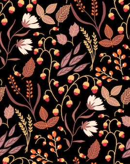 Dark autumn floral seamless pattern fall autumn leaves. nature symbol  collection