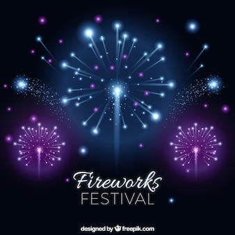 Sfondo scuro di fuochi d'artificio brillanti