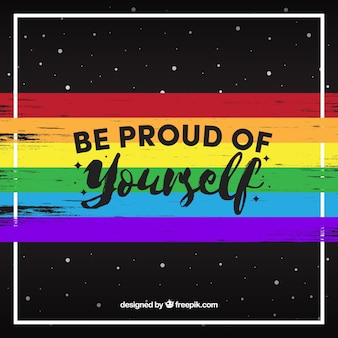 Dark background of colorful banner with pride day message