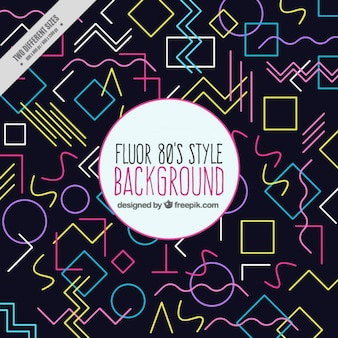 Dark background of colorful geometric shapes