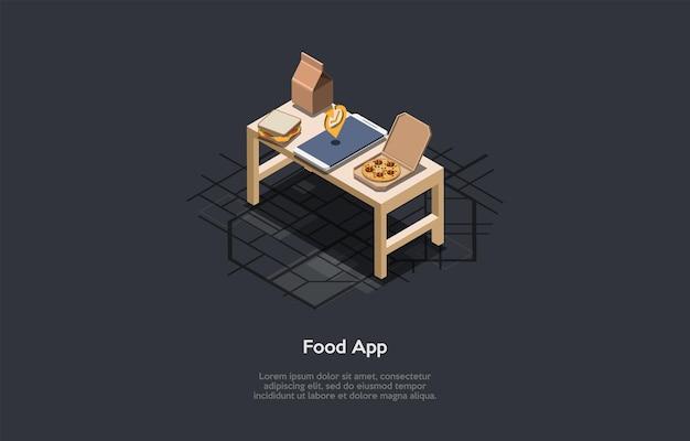 暗い背景、概念的な書き込み。等角ベクトル構成、漫画の3dスタイルのイラスト。食品関連アプリケーション。人々のための現代のオンラインプログラムまたはモバイルアプリ。レシピとカロリー