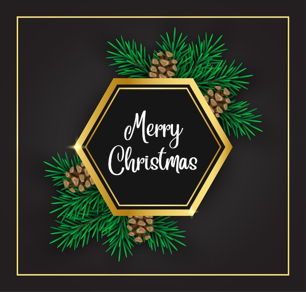 Dark background  decorated with pine cone and gold shape.