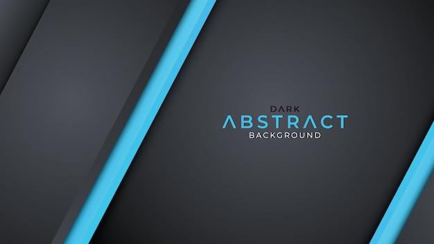 青い線の色と暗い背景のオーバーラップ層 Premiumベクター