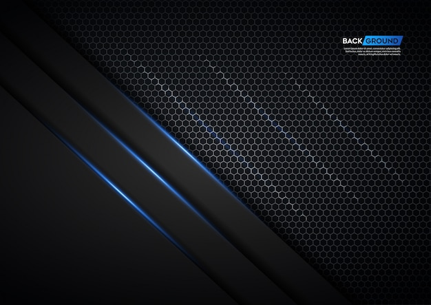 Dark background overlap layer with silver hexagon and blue light