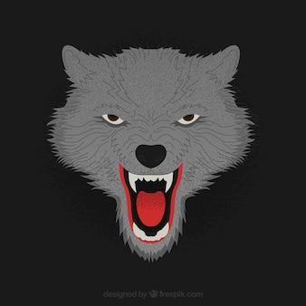 Dark background of threatening wolf