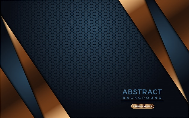 Dark background with abstract golden shapes and dark hexagon texture.