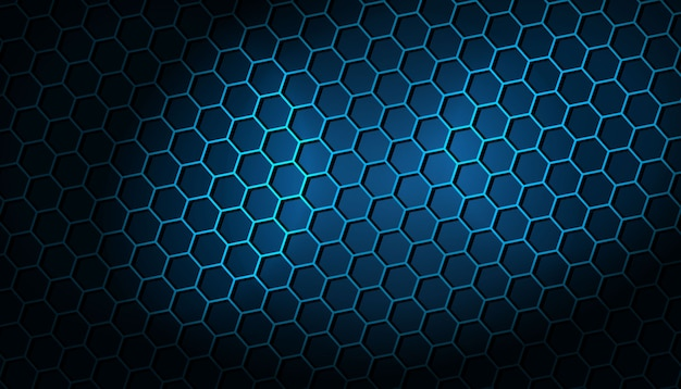 Dark background with blue hexagonal pattern