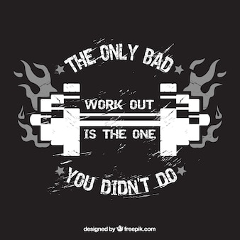 Dark background with crossfit badge and message
