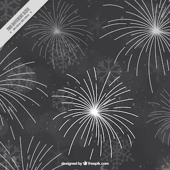 Dark background with fireworks and snowflakes