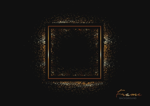 Dark background with frame and gold glitters