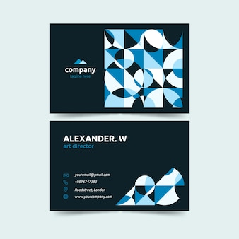 Dark background with geometric shapes design business card template