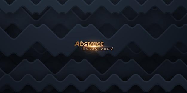 Dark background with geometric wavy shapes.