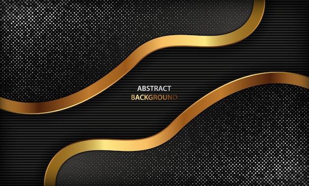 金色の抽象的な形と銀の輝きと暗い背景