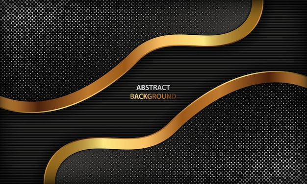 Dark background with golden abstract shapes and silver sparkle