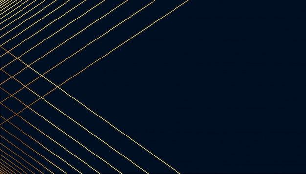 テキストスペースを持つ黄金の線図形と暗い背景