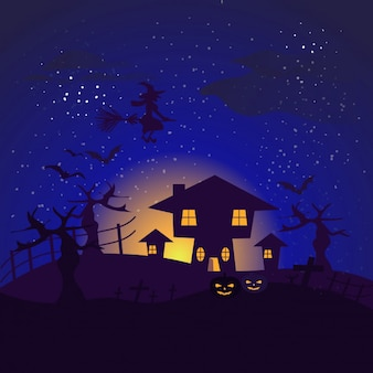 Dark background with halloween house flying bats