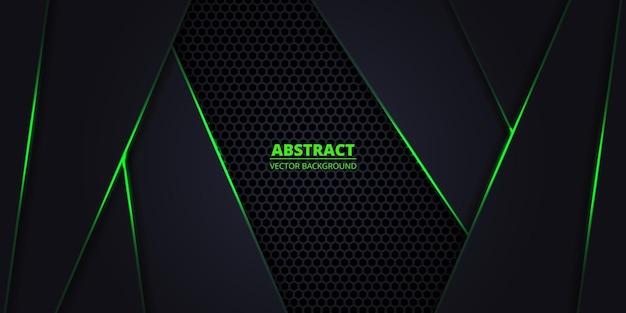 Темный фон с шестиугольной сеткой и зелеными светящимися линиями