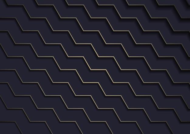 계층화 된 골드 라인이있는 어두운 배경