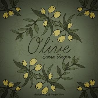 Dark background with olives