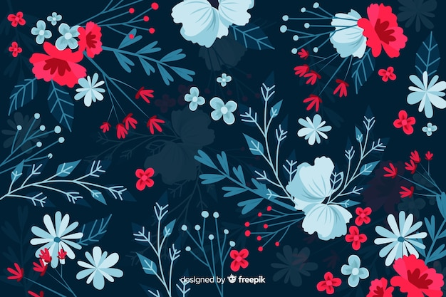 Dark background with red and blue flowers
