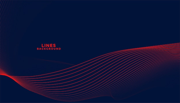 Dark background with red flowing wavy lines design