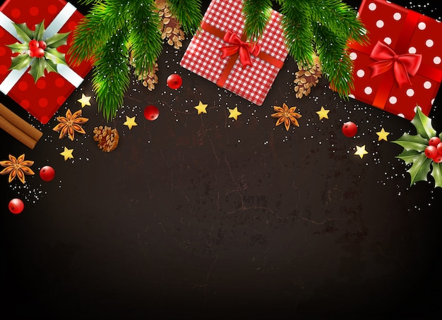 Dark background with various colorful christmas symbols such as gift boxes mistletoe leaves fir tree branches realistic