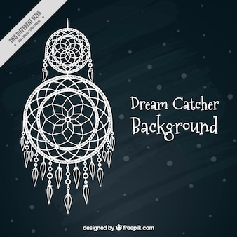 Dark background with a white dream catcher