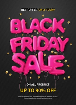 Dark banner or poster with pink balloons forming text black friday sale