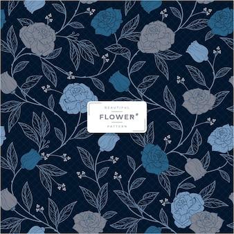 Dark beautiful blue flower pattern
