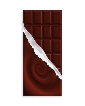 Dark bitter chocolate bar in a wrapper with swirl